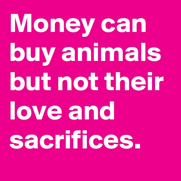 Money can buy animals but not their love and sacrifices.