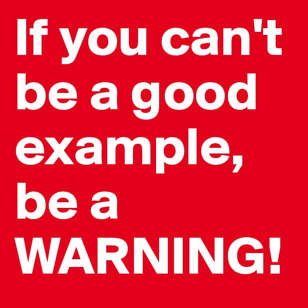 If you can't be a good example, be a WARNING!