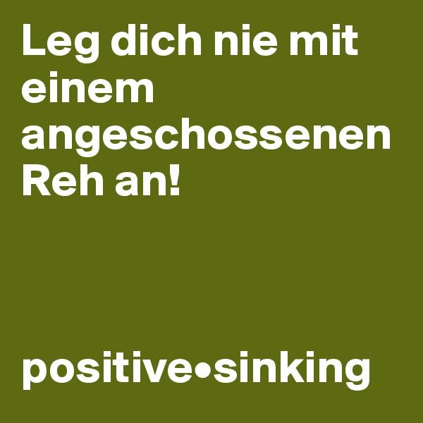 Leg dich nie mit einem angeschossenen Reh an!    positive•sinking