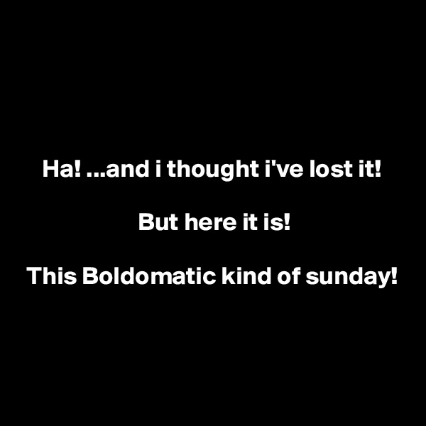 Ha! ...and i thought i've lost it!                         But here it is!   This Boldomatic kind of sunday!