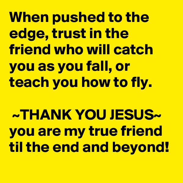 When pushed to the edge, trust in the friend who will catch you as you fall, or teach you how to fly.   ~THANK YOU JESUS~ you are my true friend til the end and beyond!