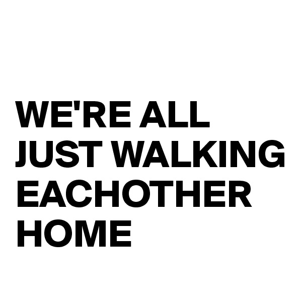 WE'RE ALL JUST WALKING EACHOTHER HOME