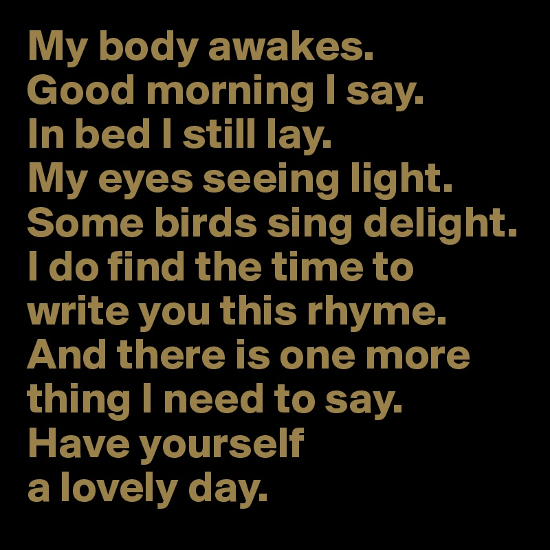 good things to say in the morning