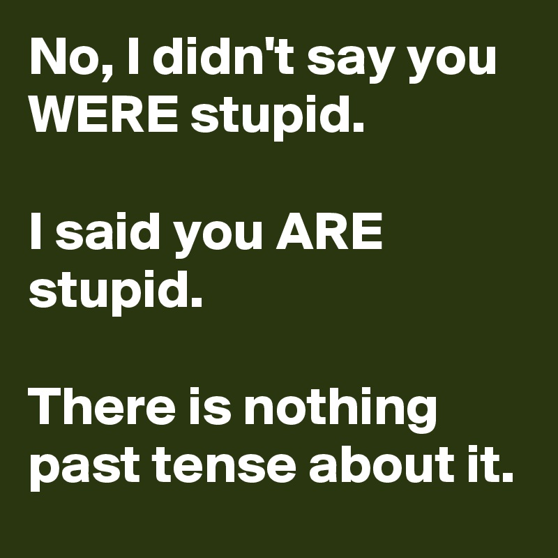 No, I didn't say you WERE stupid.    I said you ARE stupid.  There is nothing past tense about it.