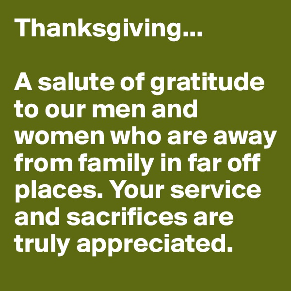 Thanksgiving...  A salute of gratitude to our men and women who are away from family in far off places. Your service and sacrifices are truly appreciated.