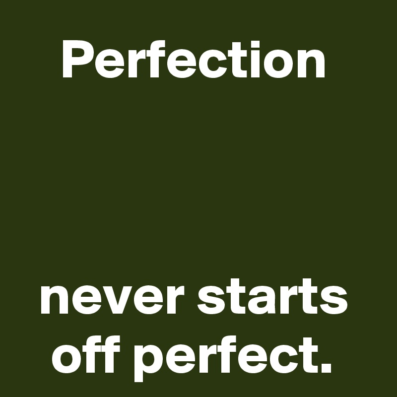 Perfection    never starts off perfect.