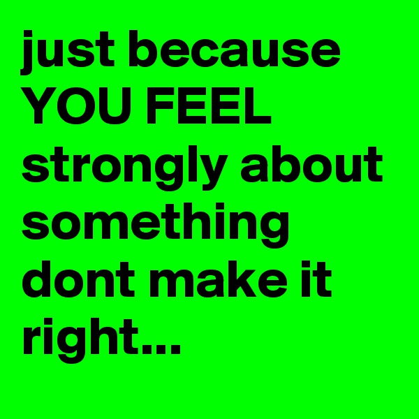 just because YOU FEEL strongly about something dont make it right...