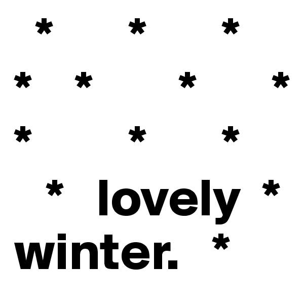 *       *       *    *    *        *       * *         *       *    *   lovely  * winter.   *