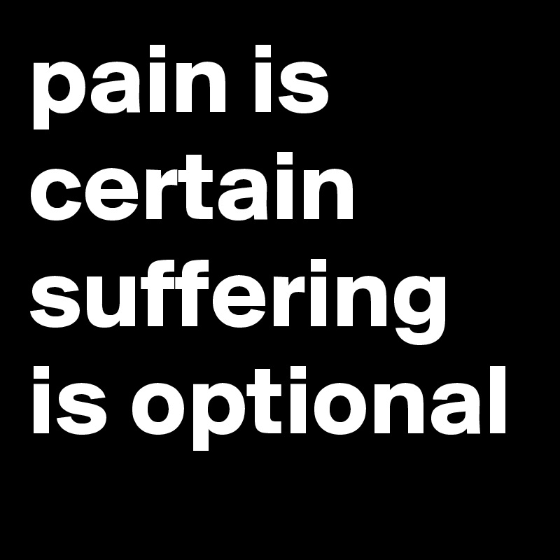pain is certain suffering is optional