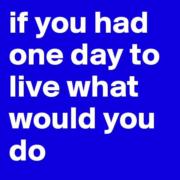 if you had one day to live what would you do