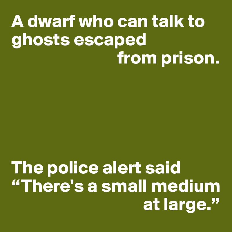 """A dwarf who can talk to ghosts escaped                              from prison.      The police alert said """"There's a small medium                                     at large."""""""