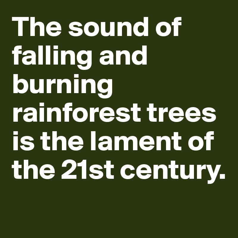 The sound of falling and burning rainforest trees is the lament of the 21st century.