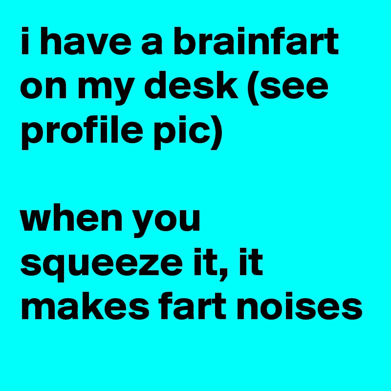 i have a brainfart on my desk (see profile pic)  when you squeeze it, it makes fart noises
