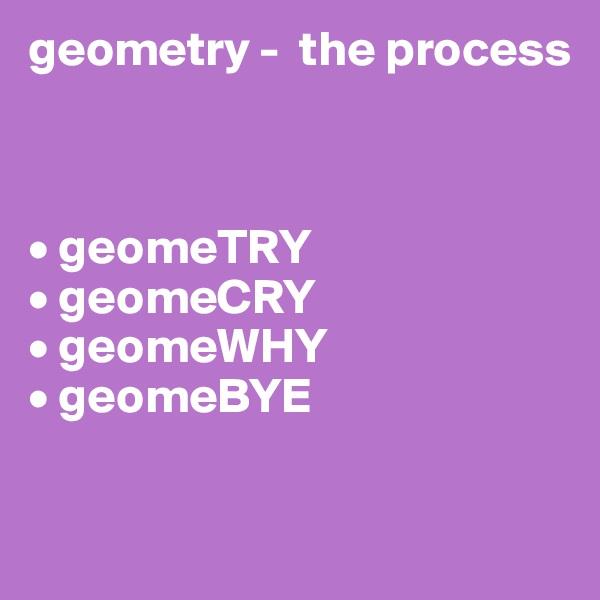geometry -  the process    • geomeTRY • geomeCRY • geomeWHY • geomeBYE