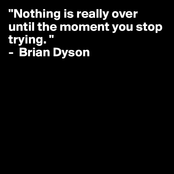 """Nothing is really over until the moment you stop trying. "" -  Brian Dyson"
