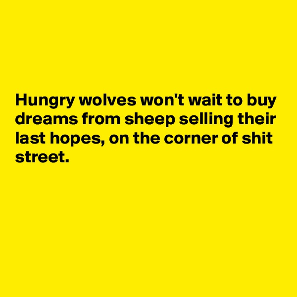 Hungry wolves won't wait to buy dreams from sheep selling their last hopes, on the corner of shit street.