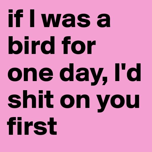 if l was a bird for one day, l'd shit on you first
