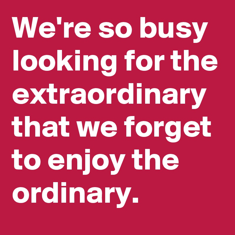 We're so busy looking for the extraordinary that we forget to enjoy the ordinary.