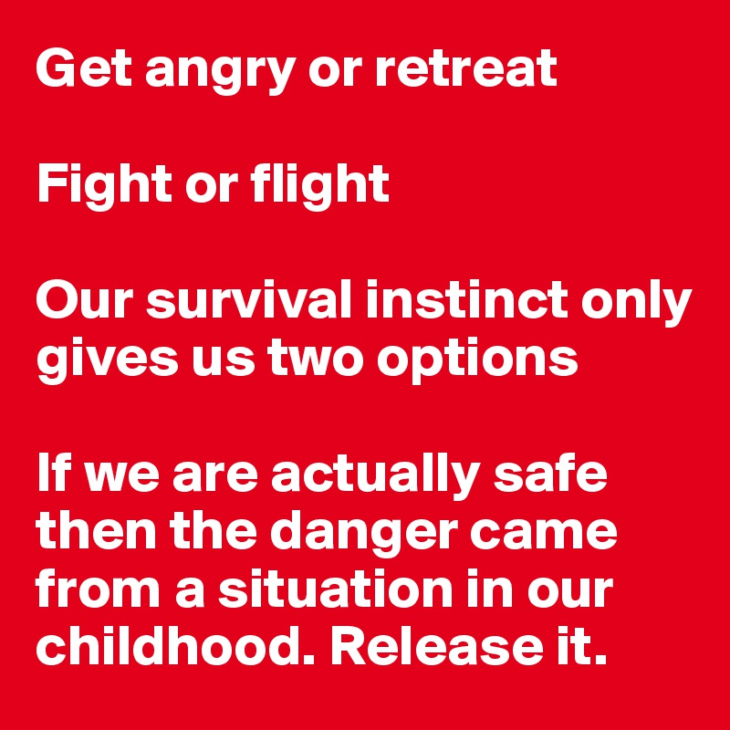 Get angry or retreat  Fight or flight  Our survival instinct only gives us two options  If we are actually safe then the danger came from a situation in our childhood. Release it.