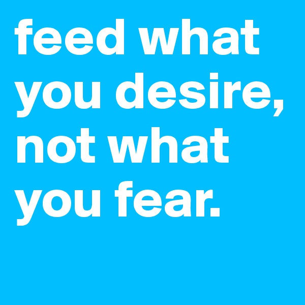 feed what you desire, not what you fear.