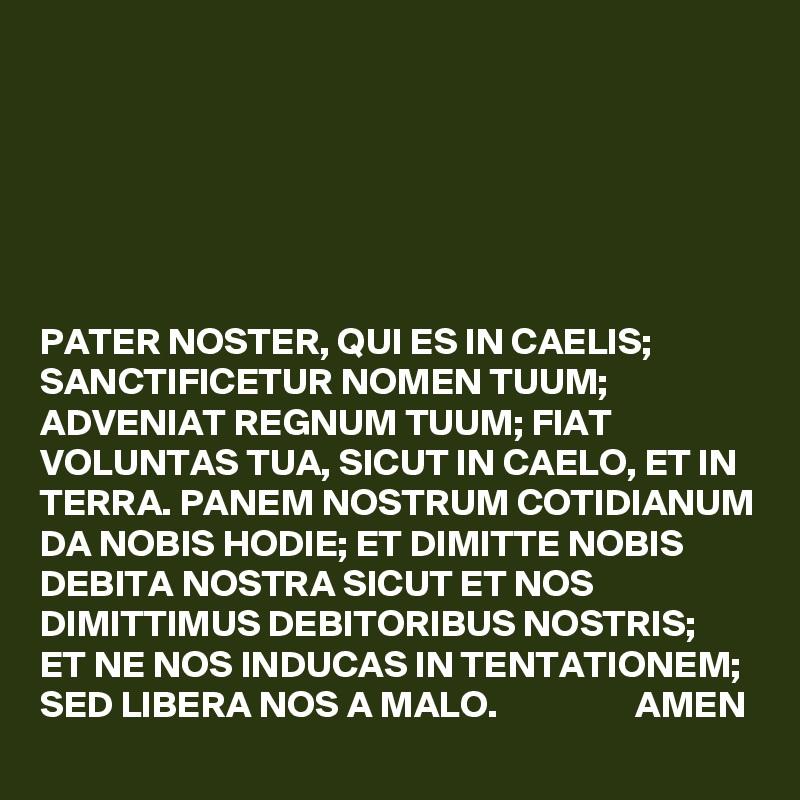 PATER NOSTER, QUI ES IN CAELIS; SANCTIFICETUR NOMEN TUUM; ADVENIAT on