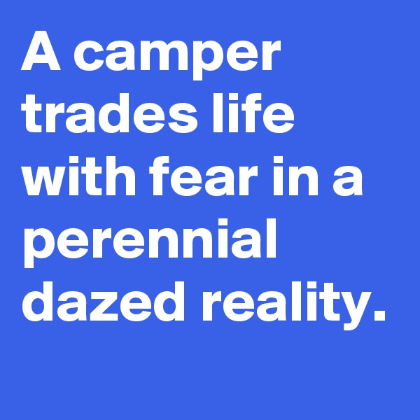 A camper trades life with fear in a perennial dazed reality.