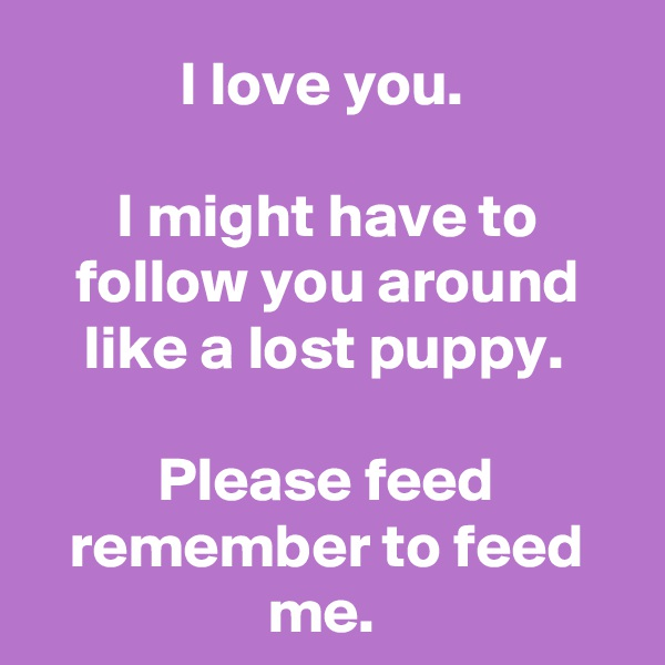 I love you.   I might have to follow you around like a lost puppy.   Please feed remember to feed me.
