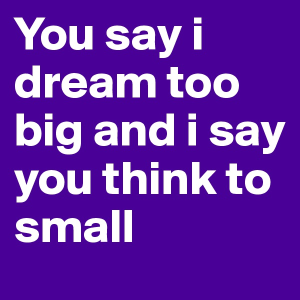 You say i dream too big and i say you think to small