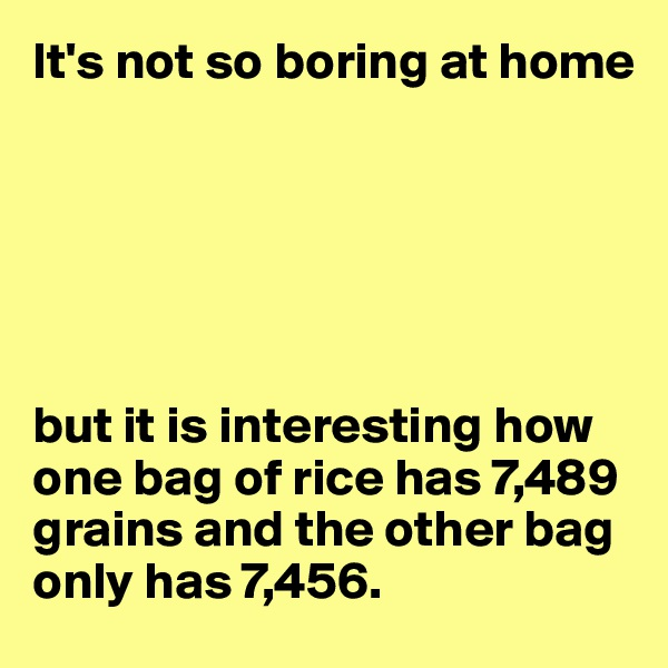 It's not so boring at home       but it is interesting how one bag of rice has 7,489 grains and the other bag only has 7,456.
