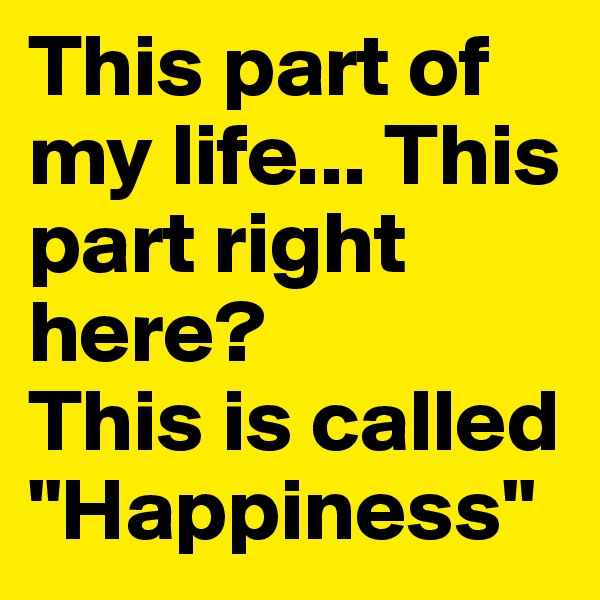 """This part of my life... This part right here?  This is called """"Happiness"""""""