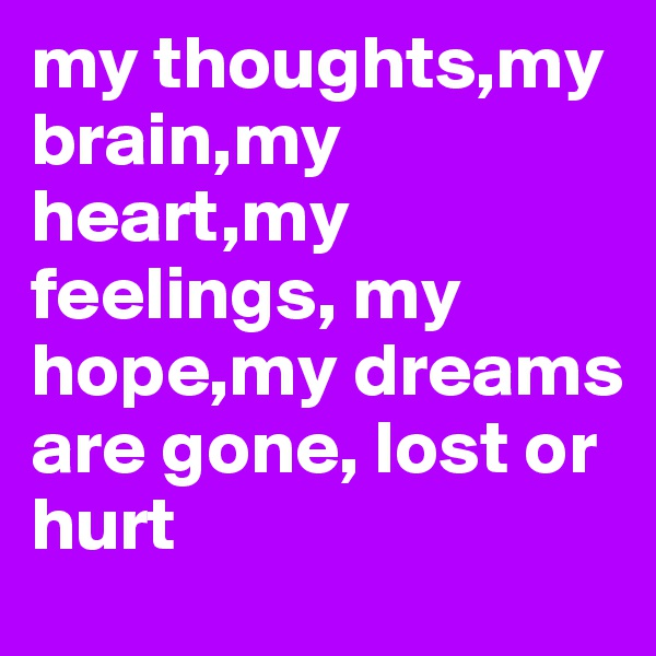 my thoughts,my brain,my heart,my feelings, my hope,my dreams are gone, lost or hurt