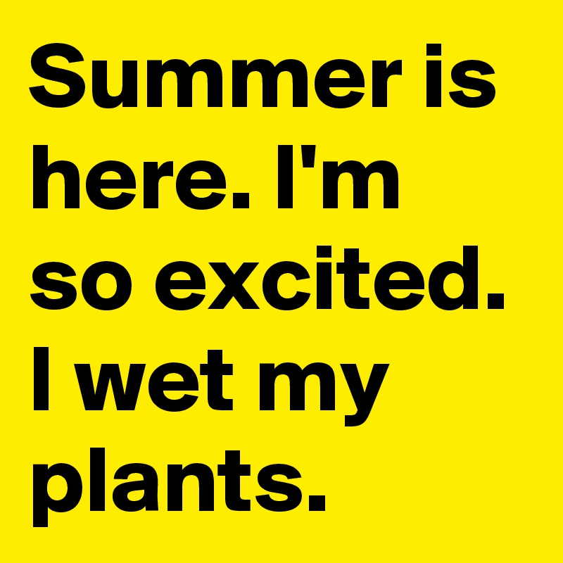 Summer is here. I'm so excited. I wet my plants.