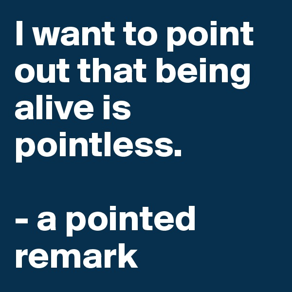 I want to point out that being alive is pointless.  - a pointed  remark