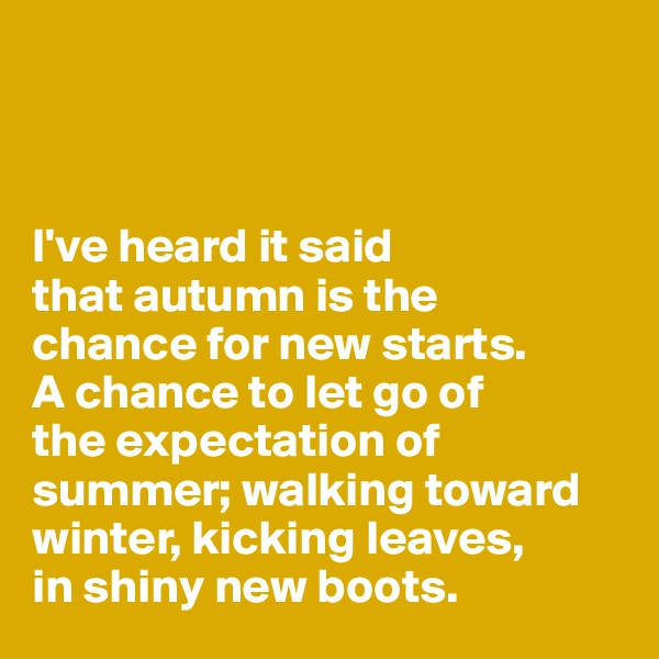 I've heard it said  that autumn is the  chance for new starts. A chance to let go of  the expectation of summer; walking toward winter, kicking leaves,  in shiny new boots.