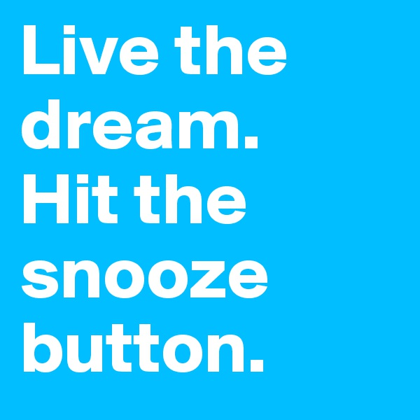 Live the dream.    Hit the snooze button.