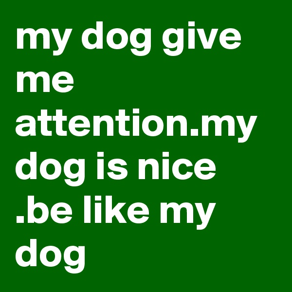 my dog give me attention.my dog is nice .be like my dog