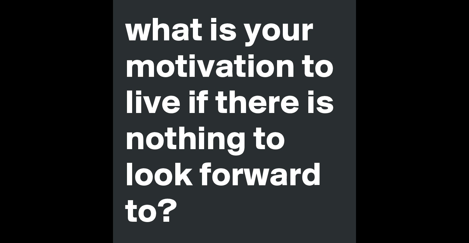 what is your motivation to live if there is nothing to look what is your motivation to live if there is nothing to look forward to post by elfilein on boldomatic
