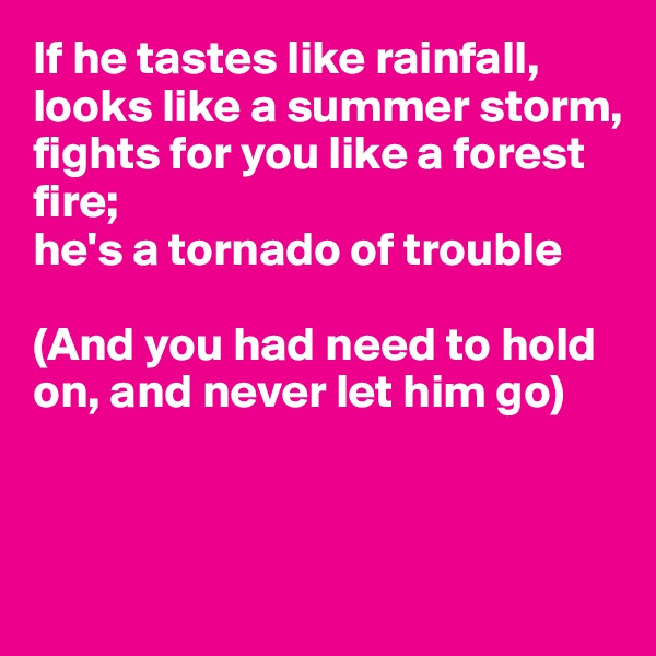 If he tastes like rainfall, looks like a summer storm, fights for you like a forest  fire; he's a tornado of trouble  (And you had need to hold on, and never let him go)