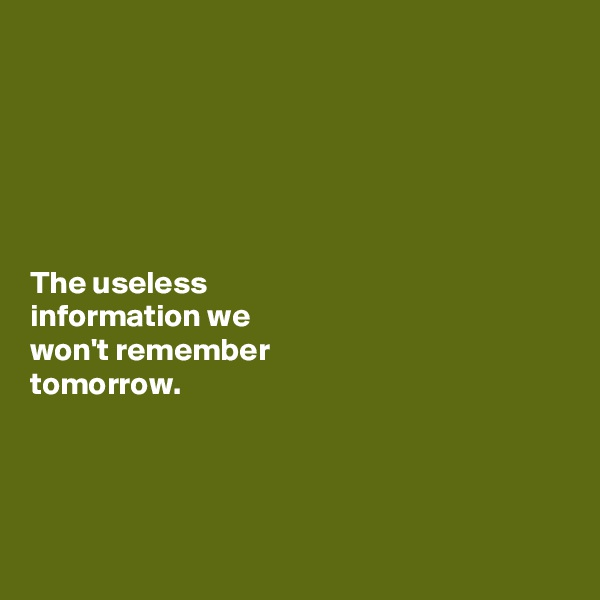 The useless  information we  won't remember  tomorrow.