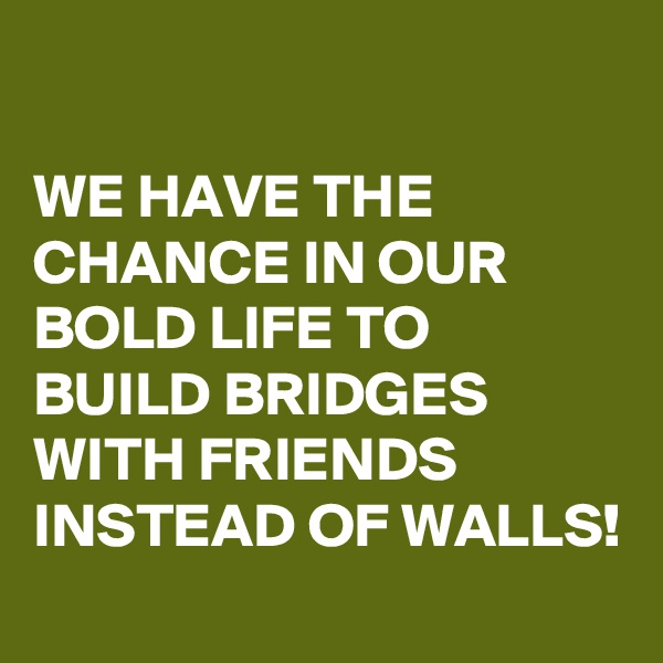 WE HAVE THE CHANCE IN OUR BOLD LIFE TO BUILD BRIDGES WITH FRIENDS INSTEAD OF WALLS!