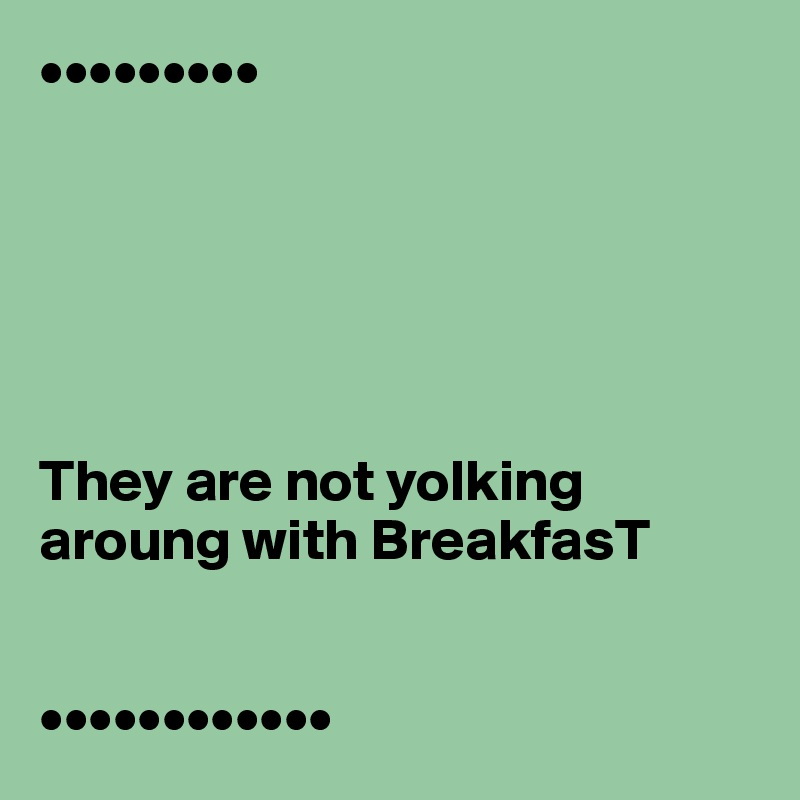 •••••••••       They are not yolking aroung with BreakfasT   ••••••••••••