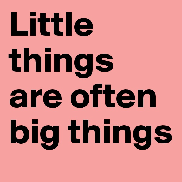 Little things are often big things