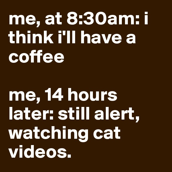 me, at 8:30am: i think i'll have a coffee  me, 14 hours later: still alert, watching cat videos.