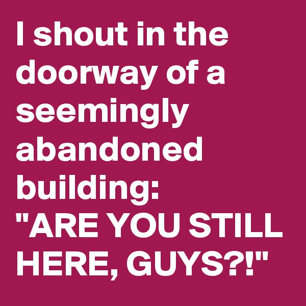 "I shout in the doorway of a seemingly abandoned building: ""ARE YOU STILL HERE, GUYS?!"""
