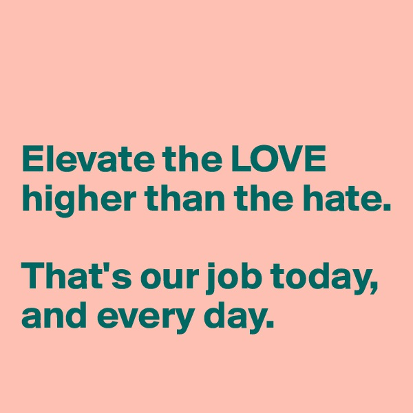 Elevate the LOVE higher than the hate.   That's our job today, and every day.