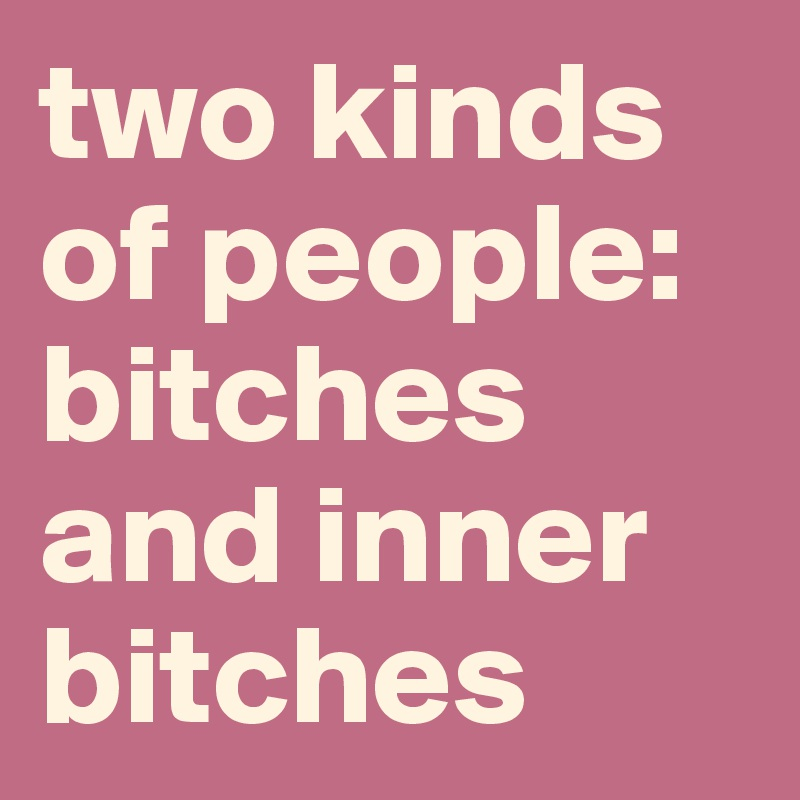 two kinds of people: bitches and inner bitches