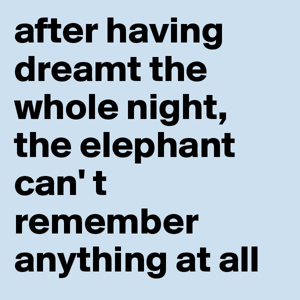 after having dreamt the whole night, the elephant can' t remember anything at all