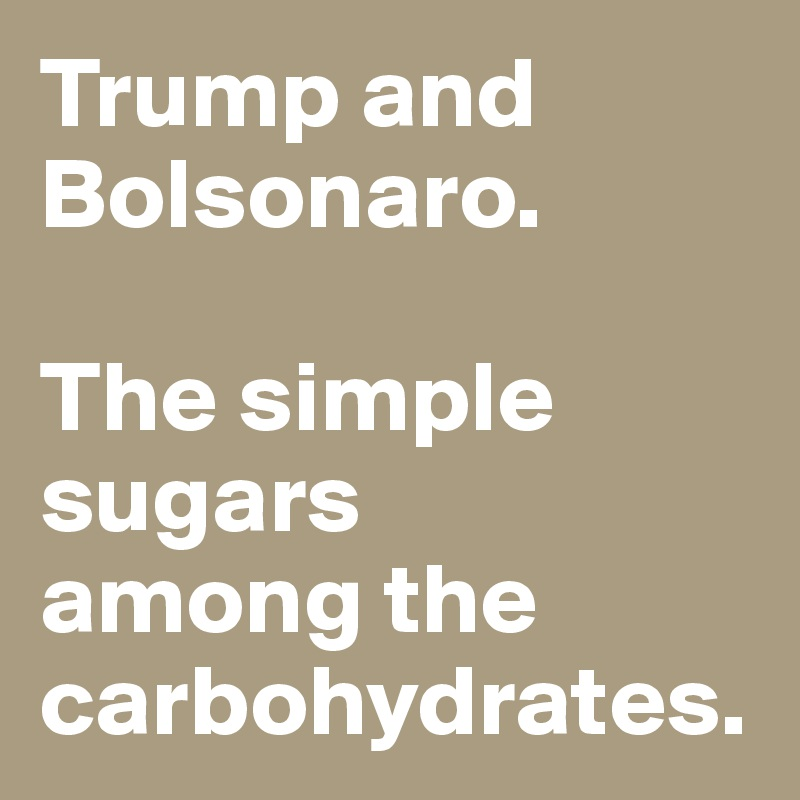 Trump and Bolsonaro.   The simple sugars  among the carbohydrates.