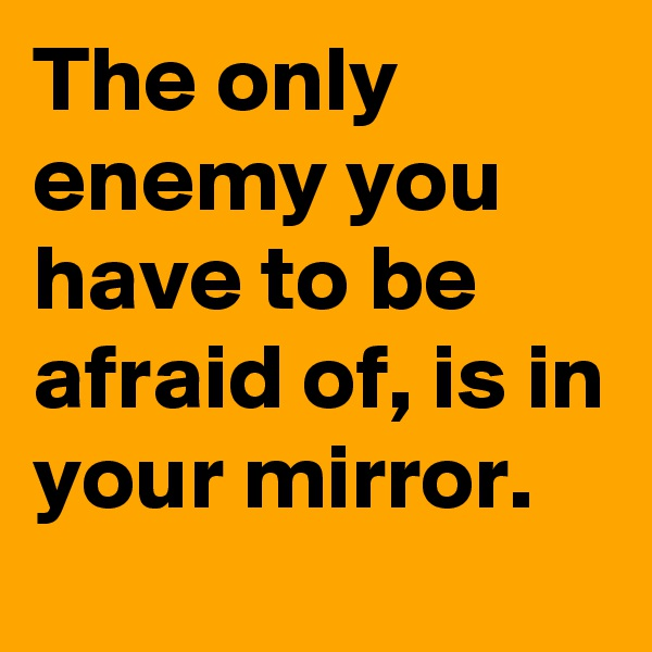 The only enemy you have to be afraid of, is in your mirror.