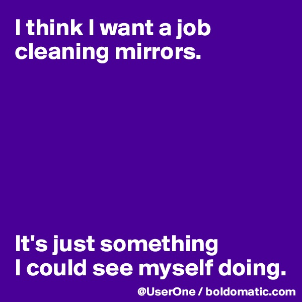 I think I want a job cleaning mirrors.        It's just something  I could see myself doing.